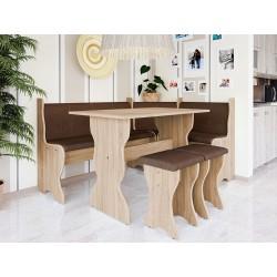 Rohová sedačka do kuchyne + stolík + taburetky Thomas