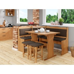 Rohová sedačka do kuchyne + stolík + taburetky Mexic